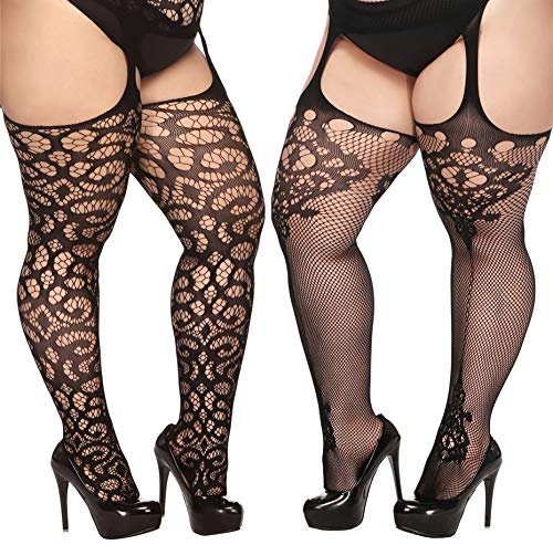 TGD Plus Size Stockings for Women Suspender Pantyhose Fishnet Tights Black 2 Pairs Thigh High Stocking (Fit US 8-16)(Black 08)