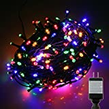 PMS 1000 LED Multicolor String Fairy Lights on Dark Green Cable with 8 Light Effects and Memory Function, Low Voltage Transformer included, UL Listed. Ideal for Christmas, Xmas, Party, Wedding, etc.
