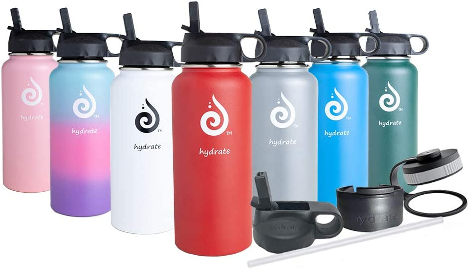 hydrate Stainless Steel Insulated Water Bottle 18oz 32oz 40oz Comes with Additional lids-Straw and flip lid -Cold for up to 24 Hours & Hot for 12 Hours (Cherry Red 32 oz)