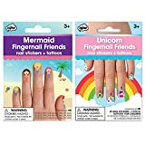 NPW Fingernail Friends Mermaid & Unicorn Nail Stickers & Tattoos (50 Nail stickers & 50 Cuticle Tattoos) (Mermaid & Unicorn)