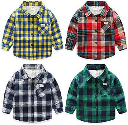 Weentop Camisa a Cuadros de niño Camiseta de Manga Larga Ropa para niños Pequeños (Color : Gris, tamaño : 100): Amazon.es: Hogar
