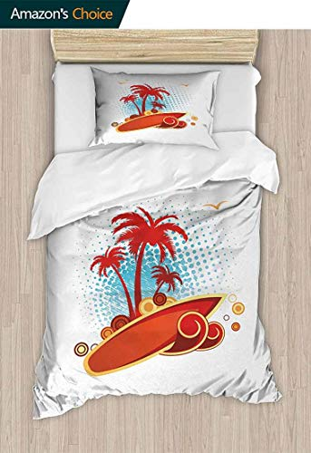 (Temox Beach Cotton Bedding Sets, Exotic Halftone Background with Circles with Palms Seagulls Tropics, Bedding Set for Teen 2PCS,71 W x 79 L Inches, Vermilion Pale Blue Yellow)