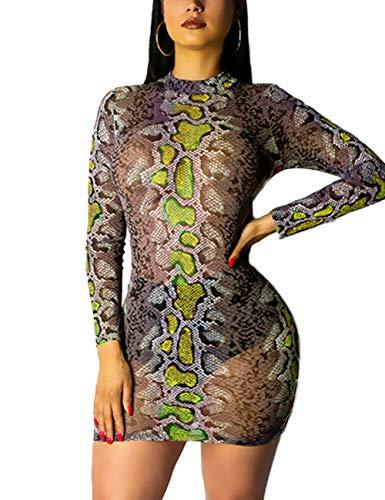 Lovelychica Women Bodycon Dress Long Sleeve Snake Print Sexy Round Collar Mini Dress - Mob Womens Dress