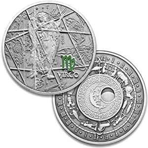 Oxidized 925 Proof Silver Zodiac Medal - Virgo, Aug 23 - Sep 22