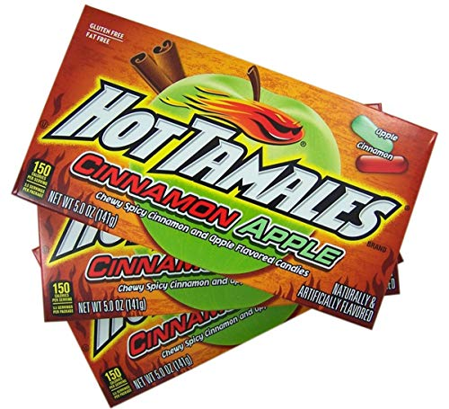 Hot Tamales Cinnamon Apple Chewy Candy Theater Box, 5 oz, Pack of 3 -