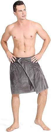 Microfiber Elastic Bath Skirt Shower Bath Towel with Pocket Soft Absorbent Changing Robe for Bathroom,Beach,Swimming,Blue,S Men Wearable Bathrobe