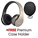 PowerLocus Wireless Bluetooth Over-Ear Stereo Foldable Headphones, Wired Headsets Noise Cancelling with Built-in Microphone for iPhone, Samsung, LG, iPad (Gold)