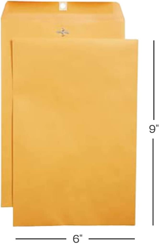 1InTheOffice 6 X 9 Clasp Envelopes with Gummed Flaps for Mailing or Shipping Envelope, Kraft Brown Envelopes, 100 per Box : Office Products