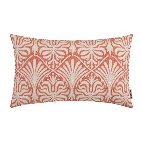 HWY 50 Decorative Embroidered Throw Pillow Covers Cushion Cases for Couch Sofa Bed Coral Pink Small Rectangle Geometric Lumbar 12 x 20 inch 1 Piece