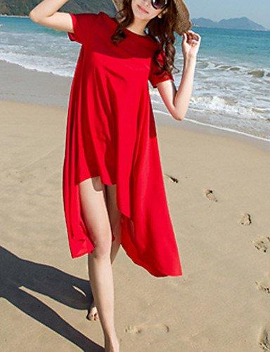 PU&PU Robe Aux femmes Ample Street Chic,Couleur Pleine Col Arrondi Asymétrique Polyester , red-l , red-l
