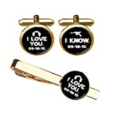 ZUNON I Love You I Know Cufflinks & Tie Clips Set Custom Wedding Date Anniversary Husband Gift (Gold Cufflink Tieclip Set)