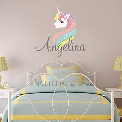 Amazon.com: BATTOO Personalized Wall Decal Girls Name Sign ...