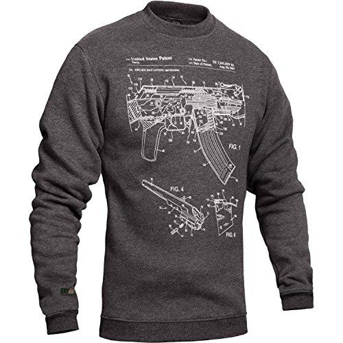 281Z Men's Hooded Sweatshirt - Tactical Military Outdoor - AK47 Gun Patent Print - Fleece Pullover (X-Small, Grey AK-47) (Best Modern Ak 47)
