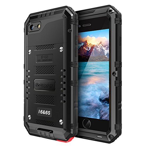 Beasyjoy Metal Phone Case Compatible with iPhone 6/6s, Waterproof Case with Built-in Screen Military Grade Full Body Protective Heavy Duty Rugged Cover Drop Proof Shockproof Defender Black