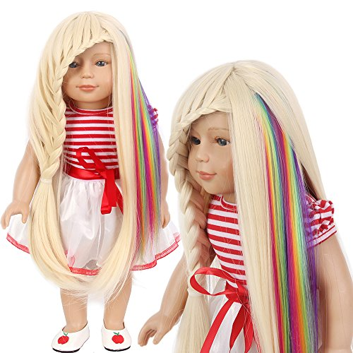 American Girl Doll Wig Pieces Clip in Hair Extensions for Barbie Baby Doll Pastel Rainbow 2 Pcs (Harajuku Halloween Makeup)