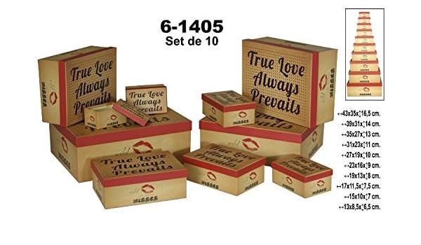 DRW - Set de 10 Cajas rectangulares de cartón True Love: Amazon.es: Hogar