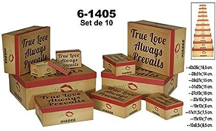 Supernova Decoracion-Set 10 cajas de cartón decorada de colores.Surtida de tamaños