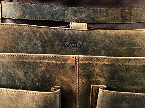 KomalC Sacoche pour ordinateur portable en cuir de buffle de 45,7 cm (18″) pour homme et femme