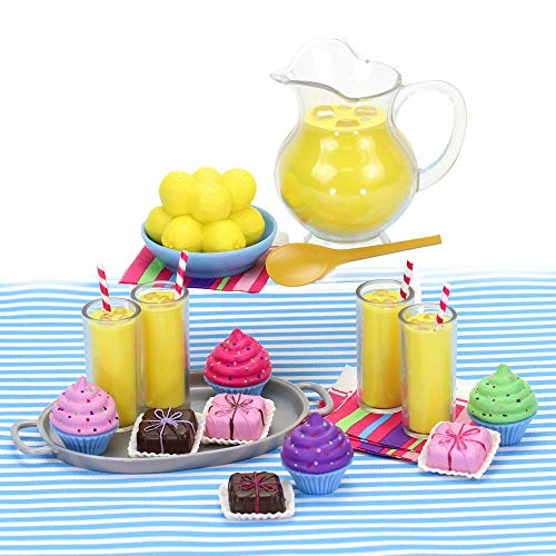 Sophia's Doll Complete Set of Doll Food Cupcakes, Petit Fours, Lemonade Pitcher, Lemons, Glasses of Lemonade and More | Sized for 18 Inch Dolls Miniature Food Play Sets and All - Food Girl American