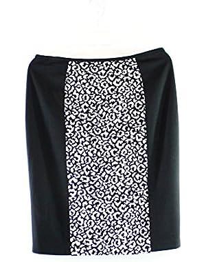 Calvin Klein Womens Ponte Contrast Panel Pencil Skirt B/W 8