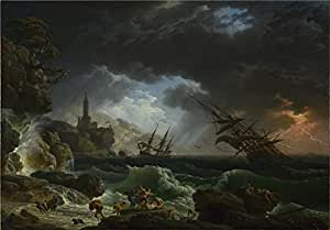 The polyster Canvas of oil painting 'Claude Joseph Vernet A Shipwreck in Stormy Seas ' ,size: 24 x 34 inch / 61 x 88 cm ,this High quality Art Decorative Canvas Prints is fit for Foyer decoration and Home decor and Gifts