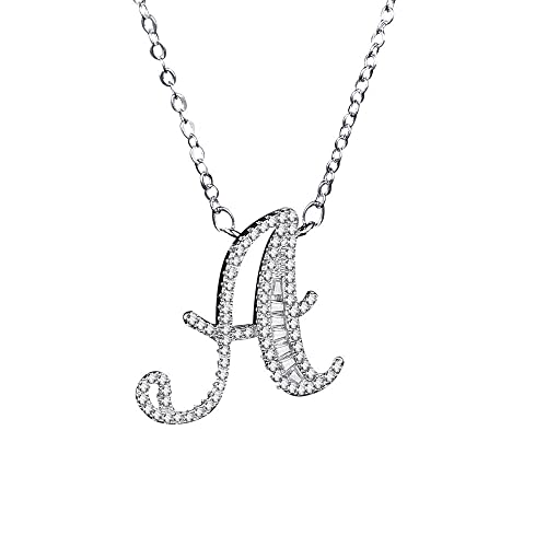 c4b267125e Uloveido Silver Color Cubic Zirconia 26 Initial Letters Alphabet  Personalized A Pendant Necklace for Boys Girls