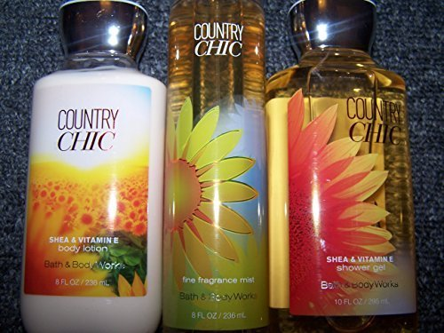 - Bath and Body Works, Country Chic 3-piece Set: Shower Gel, Body Lotion, Fine Fragrance Mist
