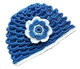 POM KIDS Crochet Beanie Contrast OP Hat with Flower : Blue
