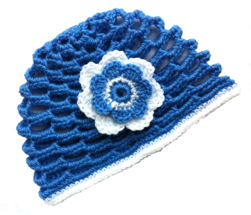 POM KIDS Crochet Beanie Contrast OP Hat with Flower : Blue by MOP