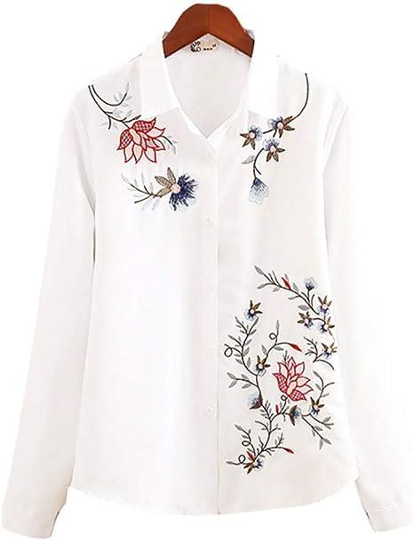 TFEI Camisa de Mujer,Camisa Blanca de Manga Larga Solapa,Top Bordado de Manga Larga,B,S: Amazon.es: Deportes y aire libre