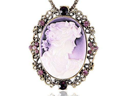 Crystal Cameo Pendant (Alilang Purple Profile Cameo Lady Crystal Rhinestone Fashion Custom Pendant Necklace)