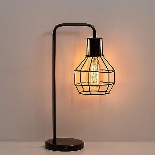 HAITRAL Vintage Table Lamp – Nightstand Lamp, Bedside Desk Lamp for Bedroom, Office, College Dorm with Marble Base – Black HT-ATL08-02