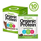 Orgain Organic Plant Based Protein Powder Travel Pack, Creamy Chocolate Fudge - Vegan, Low Net Carbs, Non Dairy, Gluten Free, Lactose Free, No Sugar Added, Soy Free, Kosher, Non-GMO, 10 Count