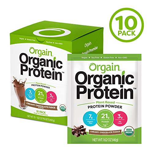 Orgain Organic Plant Based Protein Powder Travel Pack, Creamy Chocolate Fudge – Vegan, Low Net Carbs, Non Dairy, Gluten Free, Lactose Free, No Sugar Added, Soy Free, Kosher, Non-GMO, 10 Count