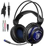 SADES SA805 Gaming Headset Over-Ear Gaming Headphones Mic Multi-Platform New Xbox One PC PS4 Volume Control (Black Blue)