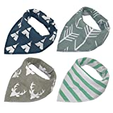 Baby Bandana Drool Bibs, Good for Drooling and Teething - Unisex 4 Pack Bulk for Boys and Girls, Thick and Lightweight (Teepee & Arrows)
