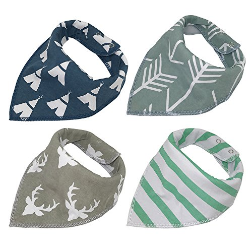 Baby Bandana Drool Bibs, Good for Drooling and Teething - Unisex 4 Pack Bulk for Boys and Girls, Thick and Lightweight (Teepee & (Choose Shower Set Finish)