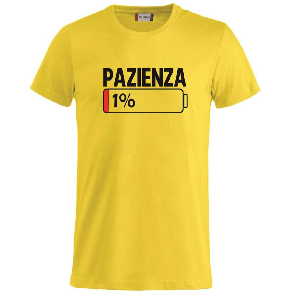 BrolloGroup T-Shirt Uomo Pazienza 1/% Magliette Simpatiche PS 27431-A001
