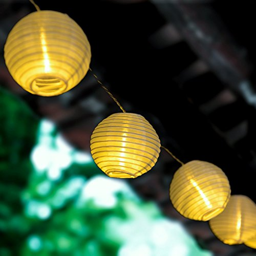 White Paper String Lights - LEAZEAL 19.7ft/6m 40 LED Fabric Paper Lantern Lights Globe String Fairy Lights Warm White for Garden Window Holiday Party Wedding New Year Indoor Home Decorative