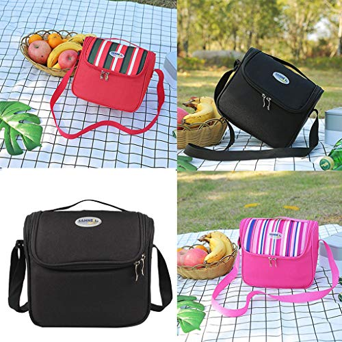 Yu2d  Insulated Cooler Lunch Bag Camping Picnic Box Shoulder Thermal Double Layer(Pink)]()