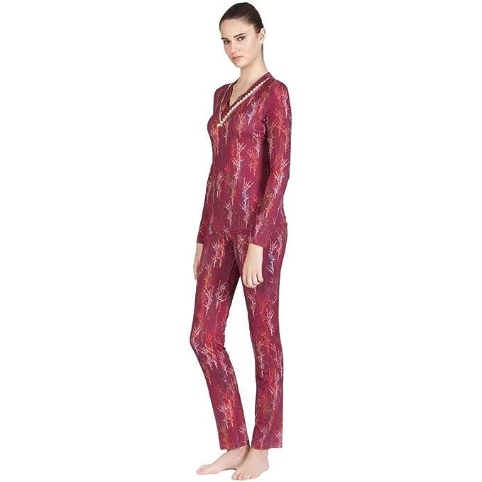 Egatex Pijama de Mujer Estampado en Viscosa 182408 - Granate, L