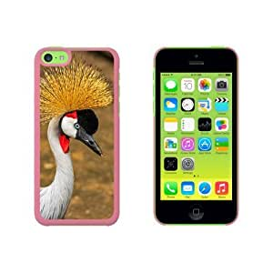 Gray Grey Crowned Crane Bird Snap On Hard Protective For Iphone 5C Phone Case Cover - Pink