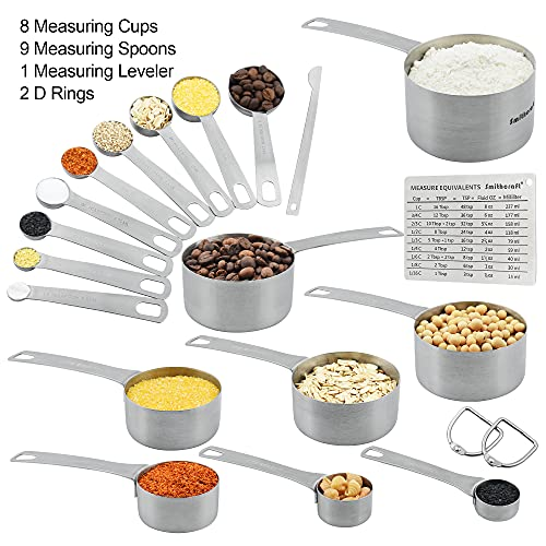 Smithcraft Stainless Steel Measuring Cups and Spoons Set 18/8(304)Steel Material Heavy Duty 5 Measuring cups and 5 Measuring Spoons 1 Leveler and 2 rings Pack 13pcs Per set