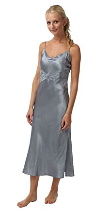 Ladies Silver Satin Nightie Size 10  Amazon.co.uk  Clothing 6d380a6a9