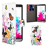 32nd® Design book wallet PU leather case cover for LG G3 (D855), including screen protector and cloth - Colour Butterfly