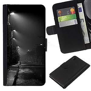 Noche Road Ciudad Lluvia Otoño Otoño- la tarjeta de Crédito Slots PU Funda de cuero Monedero caso cubierta de piel Para Sony Xperia Z3 Plus / Z3+ / Sony E6553 (Not Z3)