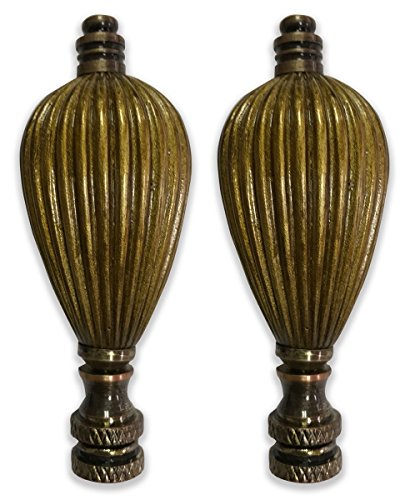 Royal Designs Vase Shaped Lamp Finial for Lamp Shade- Antique Brass Set of ()