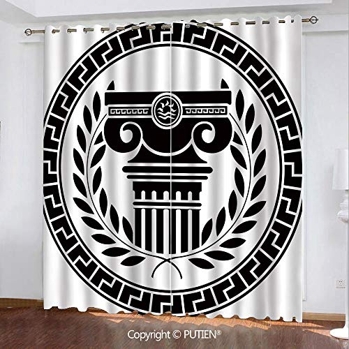 (Satin Grommet Window Curtains Drapes [ Toga Party,Hellenic Column and Laurel Wreath Heraldic Symbol with Olive Branch Graphic Decorative,Black White ] Window Curtain for Living Room Bedroom Dorm Room )