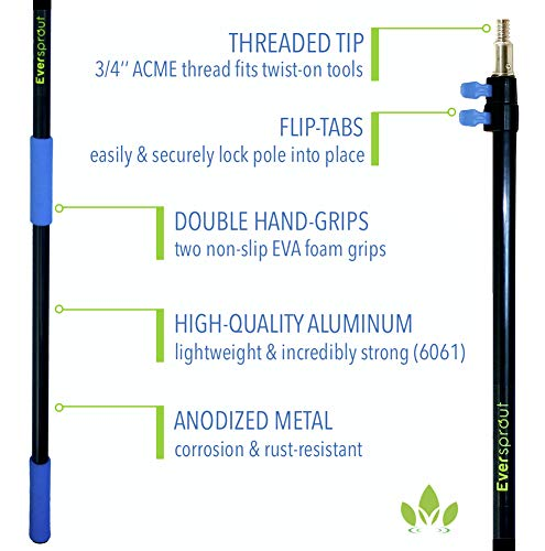 EVERSPROUT 7-to-19 Foot Cobweb Duster and Extension-Pole Combo (25 Ft. Reach, Soft Bristles)   Hand Packaged   Lightweight, 3-Stage Aluminum Pole   Indoor & Outdoor Use Brush Attachment by EVERSPROUT (Image #8)