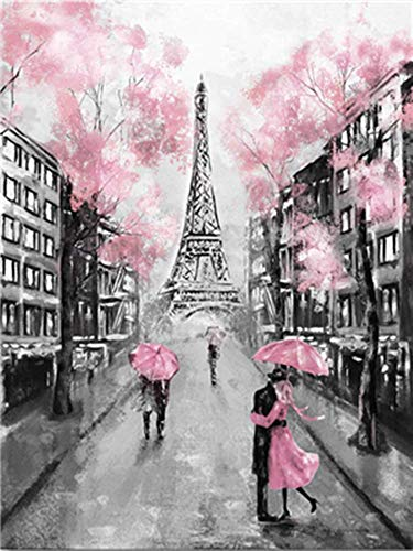 (YEESAM ART DIY Paint by Numbers for Adults Beginner Kids, Romantic Eiffel Tower Paris Street 16x20 inch Linen Canvas Acrylic Stress Less Number Painting Gifts (Paris, Without)